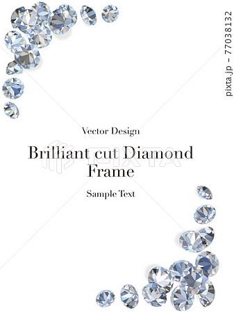 フレーム ブリリアントカットダイヤモンドイメージ ベクターイラスト縦 77038132