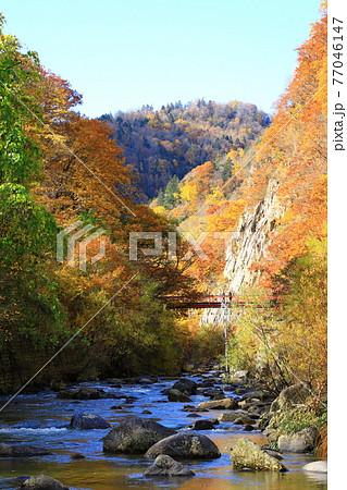 定山渓温泉 紅葉の二見定山の道 77046147