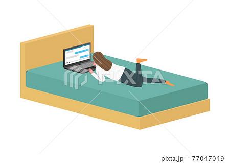 ベッドでパソコンをしている女性のイラスト 77047049