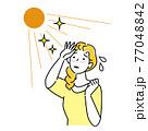 夏の太陽で日焼けして肌がヒリヒリしている女性 暑苦しくて汗をかいている イラスト シンプル ベクター 77048842