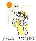 夏にマスクを着用していて暑苦しく汗をかいている女性 イラスト シンプル ベクター 77048843
