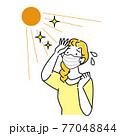 夏にマスクを着用していて暑苦しく汗をかいている女性 イラスト シンプル ベクター 77048844
