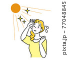 夏の太陽で日焼けして肌がヒリヒリしている女性 暑苦しくて汗をかいている イラスト シンプル ベクター 77048845
