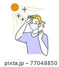 夏にマスクを着用していて暑苦しく汗をかいている男性 イラスト シンプル ベクター 77048850