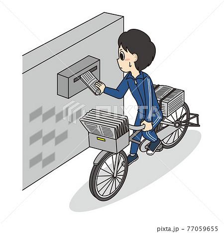 家計を助けるために自転車で新聞配達のアルバイトをしているヤングケアラー(男子学生) 77059655