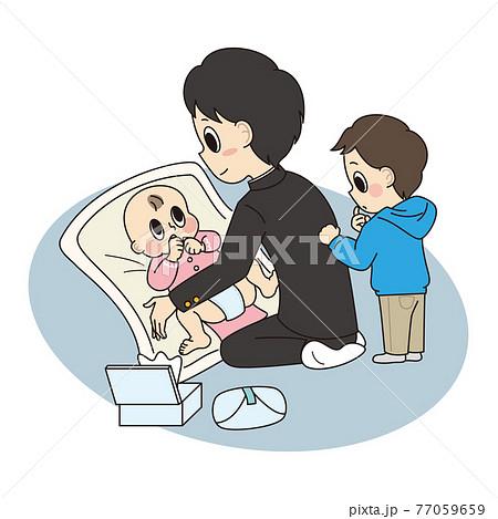 幼いきょうだいのおむつを交換をするヤングケアラー(男子学生) 77059659