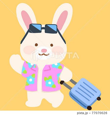 スーツケースを引く可愛くてシンプルな白ウサギのイラスト 主線なし 77070026