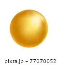 Gold sphere. Golden glass ball. 3d metal shape. Beauty yellow bubble. Oil circle. Shine luxury design element. Organic and natural cosmetic concept. Vector illustration 77070052