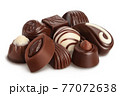 Chocolate candy isolated on white background with clipping path and full depth of field 77072638