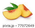 Ripe peach slices isolated on white background with clipping path and full depth of field 77072649