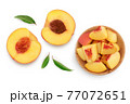 ripe peach half isolated on white background with clipping path. Top view. Flat lay 77072651