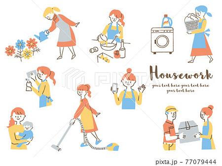 家事をする女性_セット 77079444