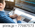 Professional Development programmer working in programming website a software and coding technology, writing codes and data code, Programming with HTML, PHP and javascript 77087573