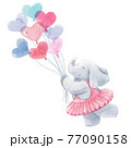 Beautiful baby birthday illustration with hand drawn watercolor cute elephant animal with air baloons. 77090158