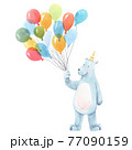 Beautiful baby birthday illustration with hand drawn watercolor cute bear animal with air baloons. 77090159