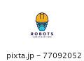 construction worker robots helmet  lines logo symbol icon vector graphic design illustration 77092052