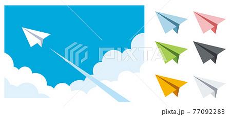 空を飛ぶ紙飛行機のイラスト素材 77092283