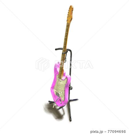 手描きのピンクのギター 77094698