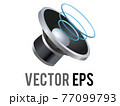 Vector silver and black circle sound music speaker high volume cone displayed icon 77099793