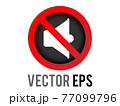 Vector red circle restricted icon with muted volume speaker phone and red stroke 77099796