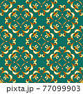 Seamless gold pattern with scrolls on green background 77099903