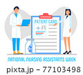 National Nursing assistants week is celebrated in June in the USA. Medical nurse is standing with stethoscope on the blue background. Lettering is thank you. Health care banner, poster concept 77103498