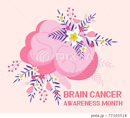 Brain cancer awareness month concept vector. Medical event is celebrated in May. Neurosurgeon template for medical landing page. Brain on boho floral 77103518