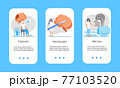 Neurology healthcare, MRI vector concept vector app templates set. Anatomical knowledge science of brain and senses diseases. Encephalogram, EKG concept vector. 77103520