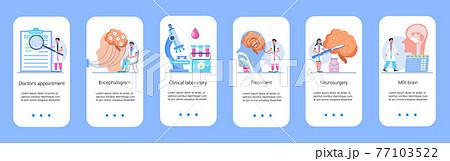 Neurology healthcare, MRI vector concept vector app templates set. Anatomical knowledge science of brain and senses diseases. Encephalogram, EKG concept vector. 77103522