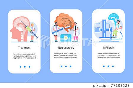 Neurology healthcare, MRI vector concept vector app templates set. Anatomical knowledge science of brain and senses diseases. Encephalogram, EKG concept vector. 77103523