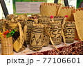 Sarawak's Ethnic crafts in Malaysia. It is made of rattan and pandanus leaves. Patterned abstract by nature. 77106601