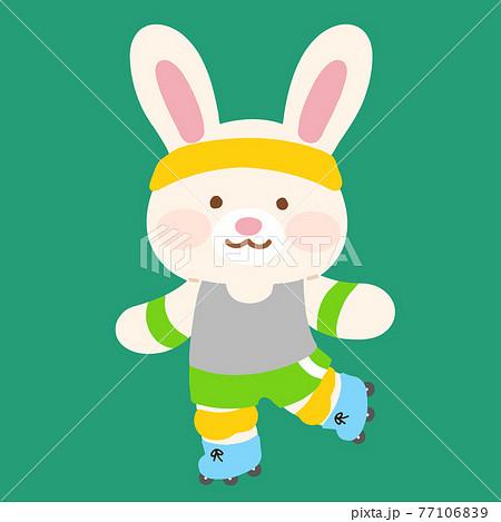 ローラースケートを楽しむ可愛くてシンプルな白ウサギのイラスト 主線なし 77106839