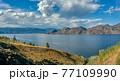 Panoramic view over Okanagan lake on a summer day 77109990