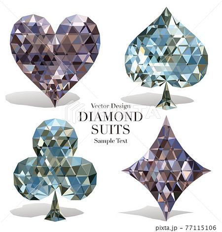 カードのマーク ハート・スペード・クラブ・ダイヤ ダイヤモンドイメージ ベクターイラスト 77115106