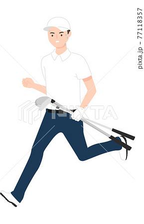 スポーツのゴルフのイラスト。ゴルフクラブを数本持って走っている若い男性。 77118357