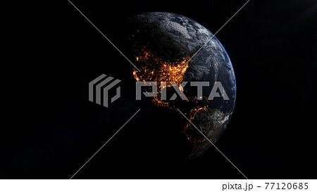 北アメリカ大陸の宇宙から見た夜景。 77120685