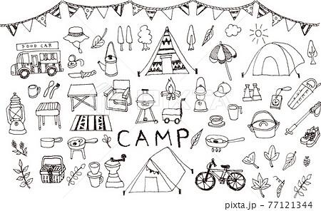 手書きのキャンプイラスト 77121344