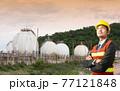 Businessmen engineering standing in front of oil refinery industry 77121848
