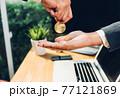 Coin bitcoin business digital money finance electronic on hand business man 77121869