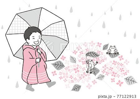 手描き1color 梅雨 レインコートと傘の男の子とカエル 77122913