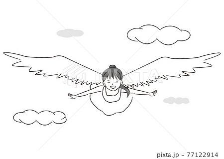 手描き1color 羽の生えた女の子が空を飛ぶ 天使 77122914