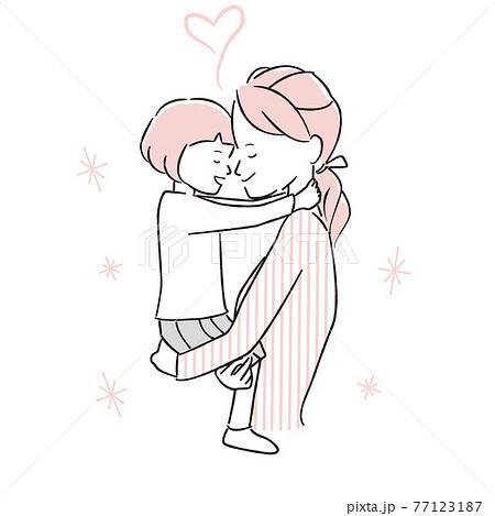 手描き1color ママ大好き 抱っこでおでこをごっつんこ 女の子 77123187