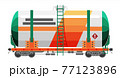 Rail oil gasoline tanker car. Freight tank wagon 77123896