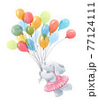 Beautiful baby birthday illustration with hand drawn watercolor cute elephant animal with air baloons. 77124111