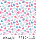 Beautiful seamless pattern with gentle watercolor hand drawn purple pink blue hearts. Stock illustration. 77124113