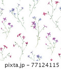 Beautiful seamless floral pattern with gentle watercolor hand drawn purple wild field flowers. Stock illustration. 77124115