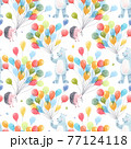 Beautiful baby birthday seamless pattern with hand drawn watercolor cute hedgehog bear animals and air baloons. Stock illustration. 77124118