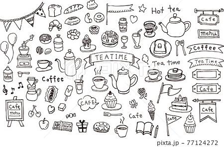 カフェの手書きイラスト 77124272