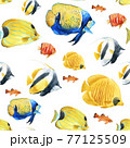 Beautiful vector seamless underwater pattern with cute watercolor colorful fish. Stock illustration. 77125509