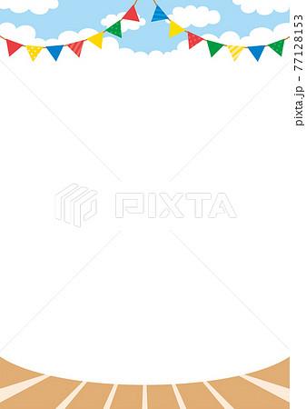 運動会の風景 可愛い 背景 グラウンド ガーランド 陸上競技場 スポーツ 白背景 コピースペース 77128153